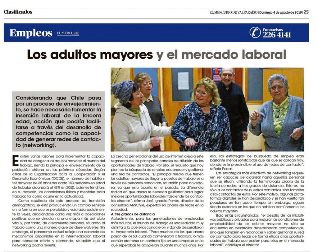 ARSChile en El Mercurio de Valparaíso sobre adultos mayores y mercado laboral.